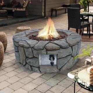 Peaktop Outdoor Stone Gas Fire Pit with Cover