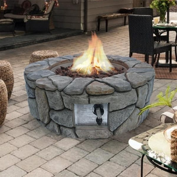 Peaktop - Outdoor Propane Gas Fire Pit, Stone Finished