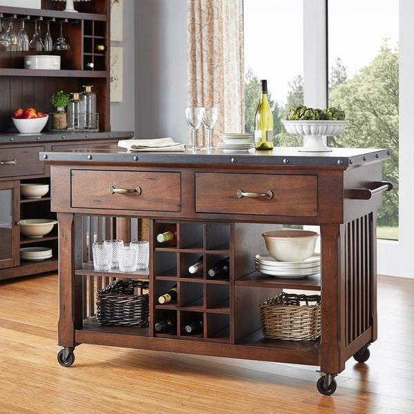 Norwood 2 Drawer Rolling Kitchen Island With Wine Rack