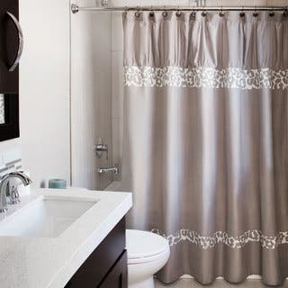 Andrew Charles Snow Leopard Collection Grey and White 72-inch Shower Curtain