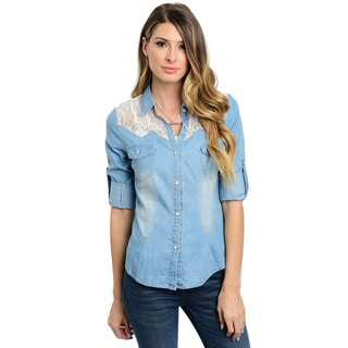 Shop the Trends Women's 3/4 Sleeve Button Down Denim Top With Lace Yoke Inserts