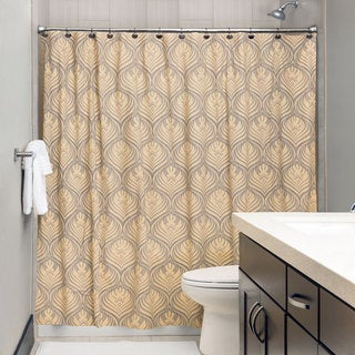 Andrew Charles Ogee Collection 72-inch Gold and Grey Shower Curtain