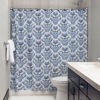 Andrew Charles Paisley Park Collection 72-inch Indigo and White Shower Curtain