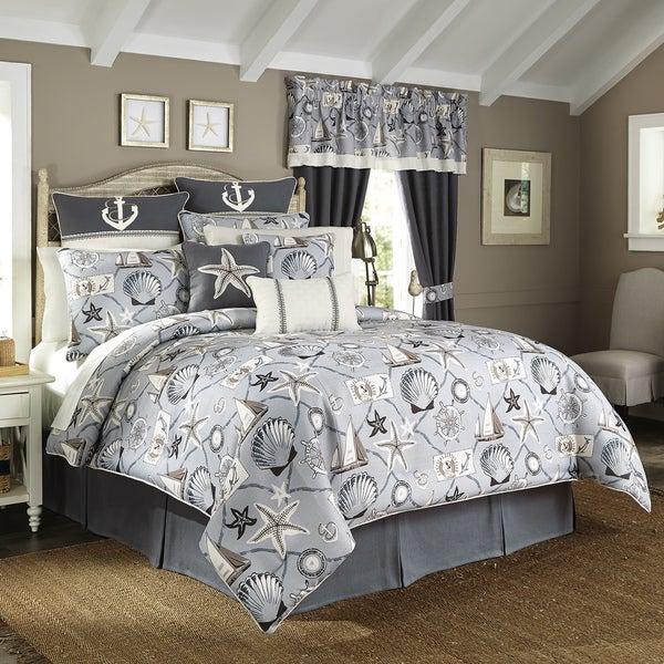 Croscill Yachtsman Coastal Print 4 Piece Comforter Set