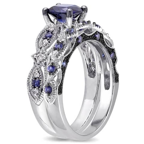 Miadora Signature Collection 10k White Gold Created Sapphire and 1/10ct TDW Diamond Bridal Set - Blue