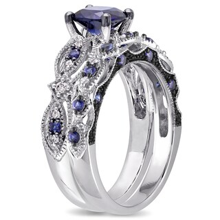 Miadora Signature Collection 10k White Gold Created Sapphire and 1/10ct TDW Diamond Bridal Set - Blue