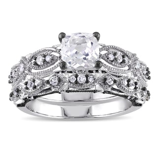 Miadora Signature Collection 10k White Gold Created White Sapphire and 1/10ct TDW Diamond Bridal Ring