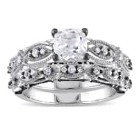 Miadora Signature Collection 10k White Gold Created White Sapphire and 1/10ct TDW Diamond Bridal Rin