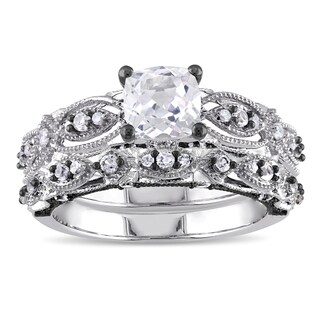 Miadora Signature Collection 10k White Gold Created White Sapphire and 1/10ct TDW Diamond Bridal Rin