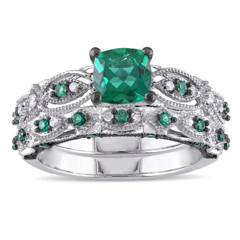 Miadora Signature Collection 10k White Gold Created Emerald and 1/10ct TDW Diamond Bridal Ring Set - Green