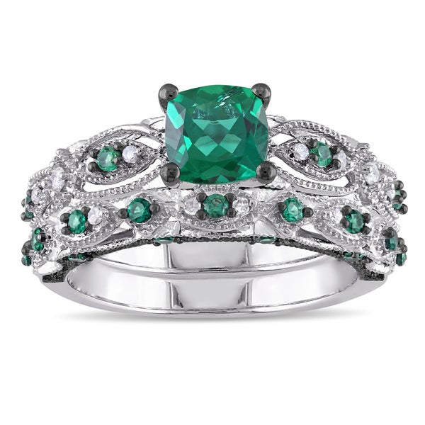 Miadora Signature Collection 10k White Gold Created Emerald and 1/10ct TDW Diamond Bridal Ring Set