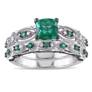 Miadora Signature Collection 10k White Gold Created Emerald and 1/10ct TDW Diamond Bridal Ring Set (