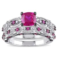 Miadora Signature Collection 10k White Gold Created Ruby and 1/10ct TDW Diamond Bridal Ring Set