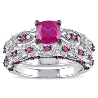 Miadora Signature Collection 10k White Gold Created Ruby And 1/10ct TDW Diamond  Bridal Ring