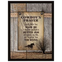 Dexsa Cowboy's Prayer Wood Plaque with Easel Back