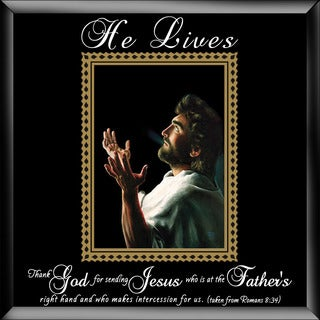Dexsa He Lives-Jesus Hands Glass Photo Frame with Easel