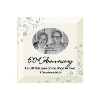 Dexsa 60th Anniversary Beveled Glass Photo Frame with Easel