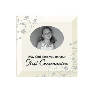 Dexsa First Communion Beveled Glass Photo Frame with Easel