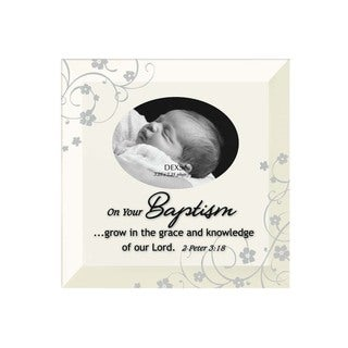 Dexsa Baptism Beveled Glass Photo Frame with Easel