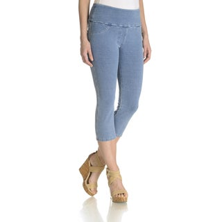 "Teez Her Women's ""Jeanie"" Stretch French Terry Denim Washed Capri"