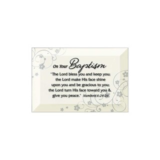 Dexsa Baptism Beveled Glass Plaque with Easel