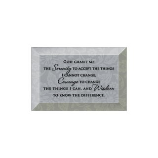 Dexsa Serenity Prayer Beveled Glass Plaque with Easel