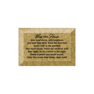 Dexsa Bless This House Beveled Glass Plaque with Easel