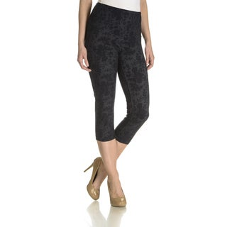 Teez Her Women's Denim Twill Barely There Floral Print Capri