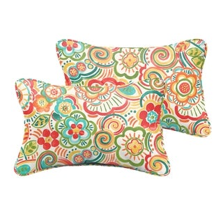 Selena Red Rio Floral Indoor/ Outdoor Corded Lumbar Pillows (Set of 2)