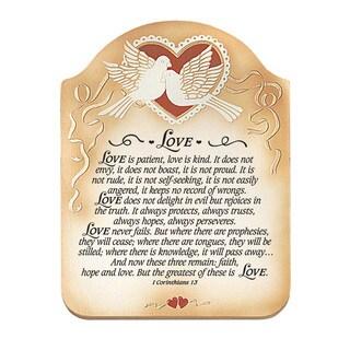Dexsa Love - 1 Corinthians 13 Embossed Wood Plaque with Easel