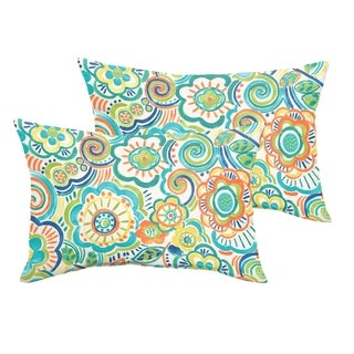 Selena Blue Rio Floral Indoor/ Outdoor Knife-Edge Lumbar Pillows (Set of 2)