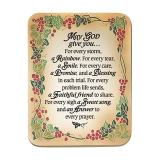 Dexsa May God Give You Embossed Wood Plaque with Easel