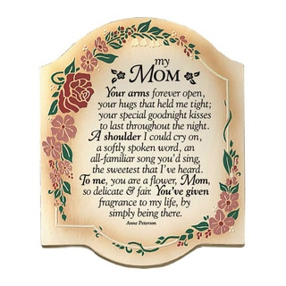 Dexsa My Mom Your Arms Embossed Wood Plaque with Easel