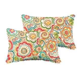 Selena Red Rio Floral Indoor/ Outdoor Flange Lumbar Pillows (Set of 2)