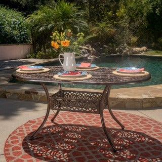 Haitian Outdoor Cast Aluminum Oval Dining Table (ONLY) by Christopher Knight Home