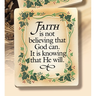 Dexsa Faith Is Not Believing Embossed Wood Plaque with Easel