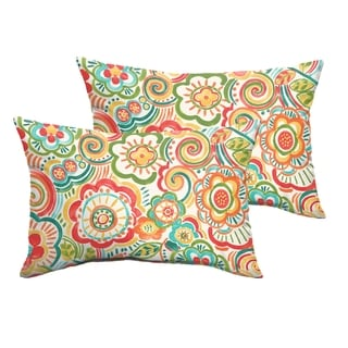 Selena Coral and Orange Rio Floral Indoor/ Outdoor Knife-Edge Lumbar Pillows (Set of 2)