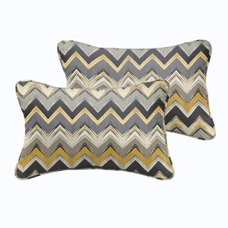 Selena Grey Gold Chevron Indoor/ Outdoor Corded Lumbar Pillows (Set of 2)
