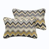 Selena Grey Gold Chevron Indoor/ Outdoor Corded Lumbar Pillows (Set of 2)