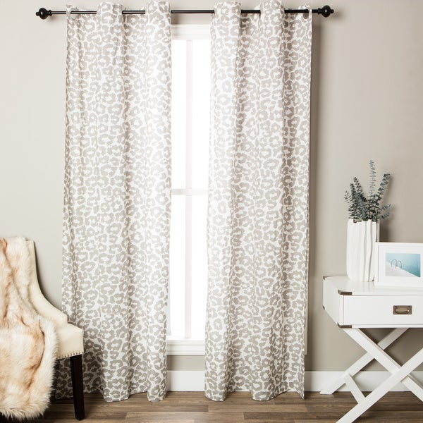 Andrew Charles Snow Leopard Collection Animal Print Cotton Curtain Panel