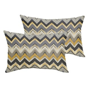 Selena Grey Gold Chevron Indoor/ Outdoor Knife-Edge Lumbar Pillows (Set of 2)