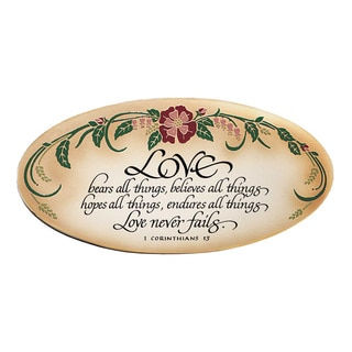 Dexsa Love Never Fails Embossed Wood Plaque with Easel