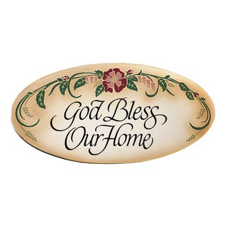 Dexsa God Bless Our Home Embossed Wood Plaque with Easel