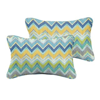 Selena Blue Chevron Indoor/ Outdoor Corded Lumbar Pillows (Set of 2)