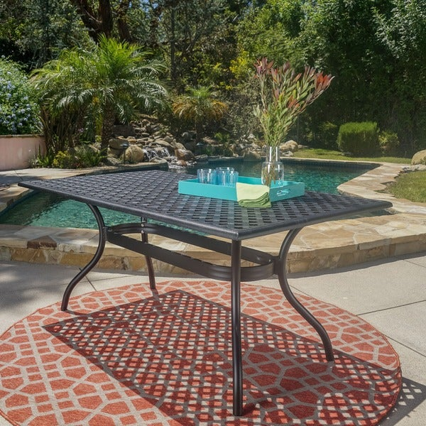 Cayman Outdoor Black Sand Aluminum Dining Table by Christopher Knight Home. Opens flyout.