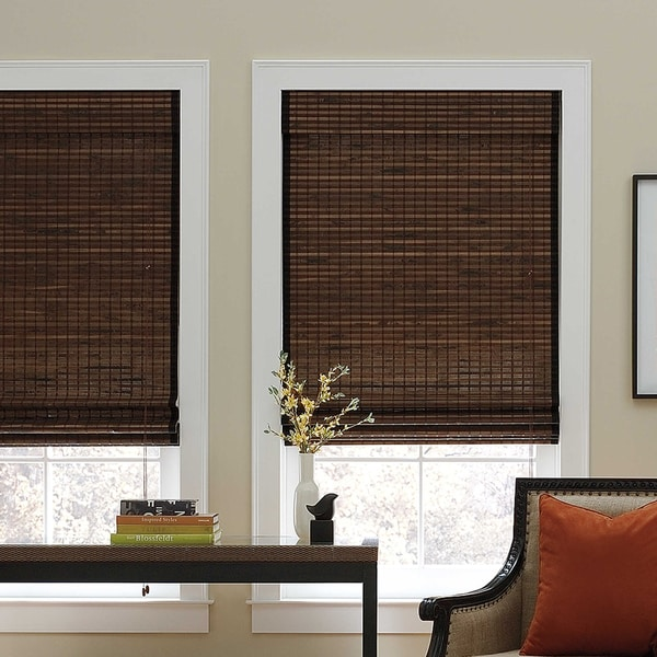 roman shades for sale levolor chocolate natural bamboo roman shade shop on sale free shipping
