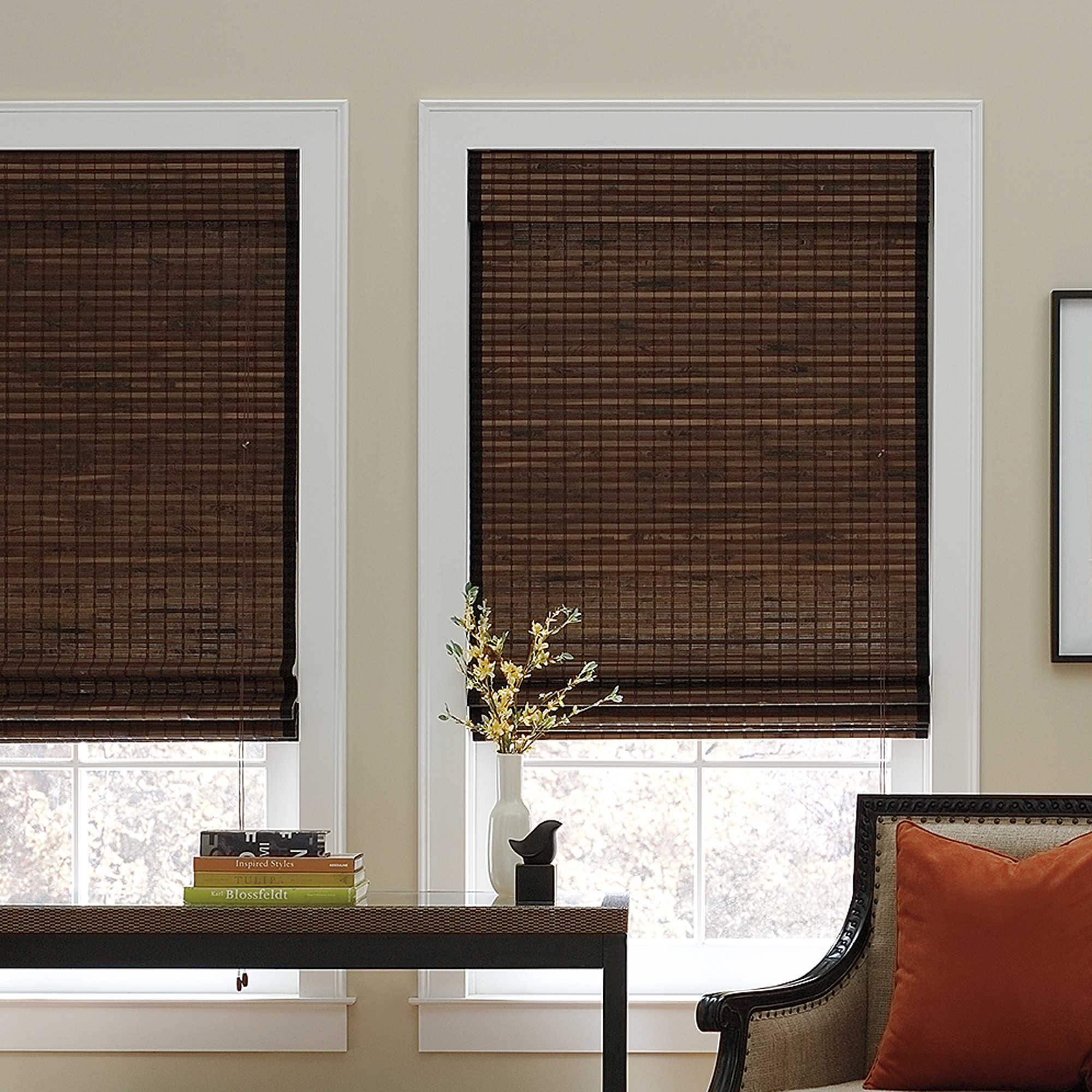 UHF Chocolate Natural Bamboo Roman Shade (46 X 72 - 40 - ...