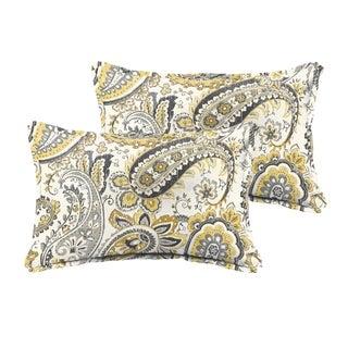 Selena Grey Gold Paisley Indoor/ Outdoor Flange Lumbar Pillows (Set of 2)