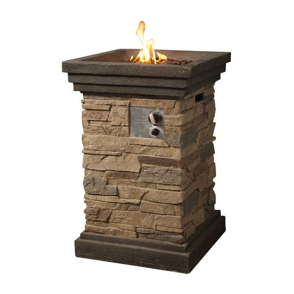 Peaktop Slate Rock Square Column Gas Fire Pit With Cover