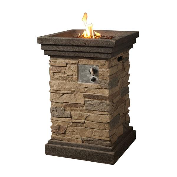 Shop Peaktop Slate Rock Square Column Gas Fire Pit With